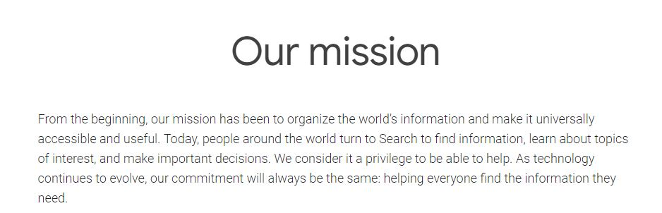 google search mission statement