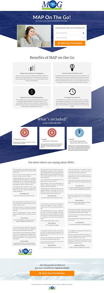 content on a landing page
