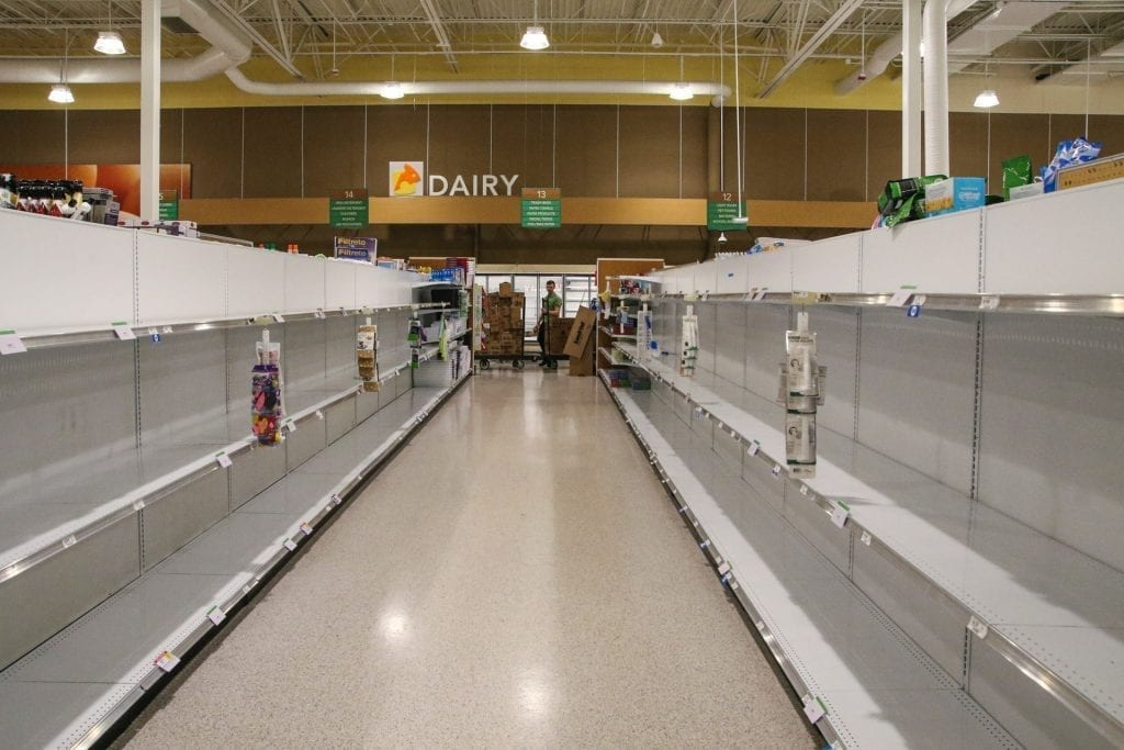 grocery store empty because coronavirus panic