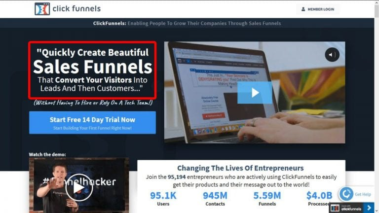 keywords on the homepage of clickfunnels