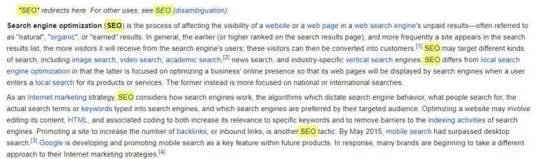 example of keyword frequency of seo